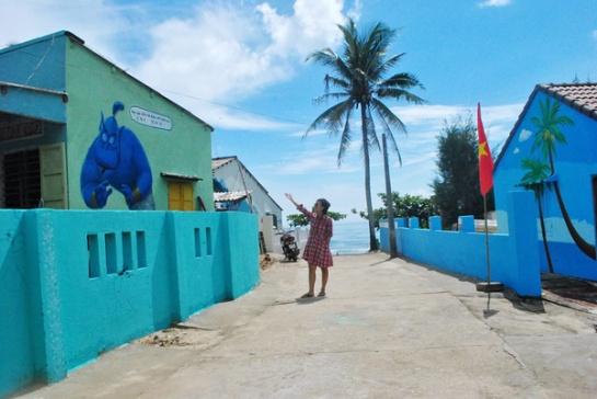 C'est dans le hameau de Trung Thanh que les habitations se côtoient de manière plus dense qu'ailleurs, ce qui explique le fait qu'il a été choisi pour faire l'objet de cette réalisation, au dire des artistes volontaires.