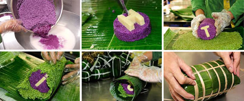 Le riz gluant est mélangé avec du lait de coco, du sel et du sucre puis emballé dans des feuilles de bananier.